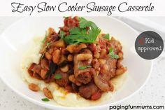 Easy Slow Cooker Sausage Casserole - this a great recipe that you can pop on in the morning & have a delicious dinner ready for after school!
