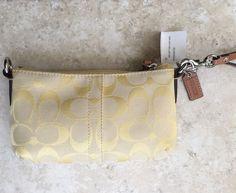 COACH Wristlet Lemon/Natural with Leather Trim New with Tags Pale Yellow Online Garage Sale, Canvas Handbags, Coach Wristlet, Satchel, Lemon, Purses, Tags, Yellow, Natural