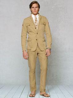 Safari jacket. Belted back. Dorky lapels