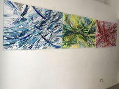 Particelle in movimento, Raffaella Losapio, 2017, cm 70 x300, painting on canvas, wood