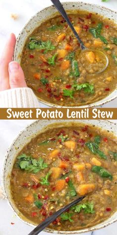 Sweet Potato Lentil Stew Earthy Moroccan Sweet Potato Lentil Stew recipe with cumin, coriander and smoked paprika. Hearty, detoxing and loaded with protein and micro nutrients from fresh kale and spinach, this recipe needs to be on repeat all winter long. Lentil Recipes, Veggie Recipes, Whole Food Recipes, Soup Recipes, Vegetarian Recipes, Cooking Recipes, Healthy Recipes, Dinner Recipes, Vegan Soups