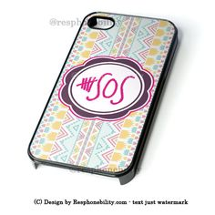 5 Second Of Summer Aztec Chevron iPhone 4 4S 5 5S 5C 6 6 Plus , iPod 4 5  , Samsung Galaxy S3 S4 S5 Note 3 Note 4 , and HTC One X M7 M8 Case