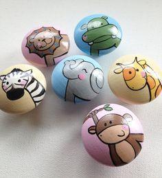 Animal Drawer Pulls  set of 6 Girly Pastel by CariBimbi on Etsy