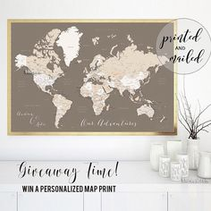 Highly detailed word map poster set in earth tones set of 3 split large world map with countries labelled distressed texture in earth tonesis design can be printed and glued to a foam core board and it makes a great gumiabroncs Images