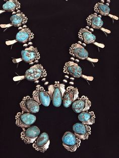 VINTAGE Old Pawn Navajo  Sterling Silver Turquoise  Squash Blossom Necklace