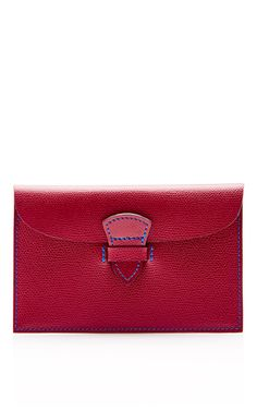Leather Pépite Clutch In Burgundy And Blue  by MAISON THOMAS Now Available on Moda Operandi