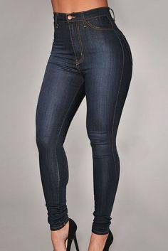 Sexy Denim High-Waist Skinny Jeans