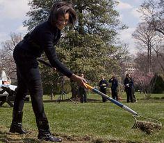 Michelle Obama gardens in style