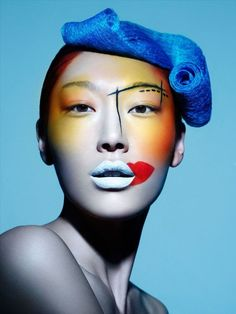 Zhang Shu Yang for East Weekly 2 Bold Makeup Looks, Dramatic Makeup, Fx Makeup, Body Makeup, Picasso Style, High Fashion Makeup, Foto Fashion, Make Up Art, Making Faces