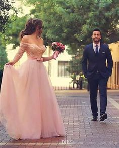 Off Shoulder Prom Dresses 2017 A Line Sweetheart Vestidos De Novia Bow Half  Sleeves Tulle Sash Floor Length Lace Beaded Prom Gowns Summer Prom Dresses  Cheap ... dcd9d4b440c3