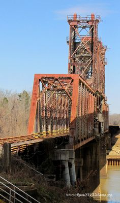 Old Naheola Bridge at Pennington, Alabama (Click link below for additional details about this old bridge.)  My Uncle Fred worked as the bridge keeper on this bridge!  Sweet Home Alabama!