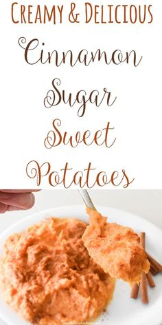 This insanely-good Creamy Cinnamon Sugar Sweet Potatoes recipe is a wonderful blend of sweet, creaminess, and cinnamon. This is easy to make and only require one pot. #cinnamon #sweetpotatoes #dessert #dessertrecipes