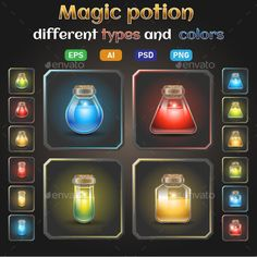 Buy Icon Set of Bottles with Glowing Liquid Potion by kdrahomaretska on GraphicRiver. Game icons set of magic potion and elixir include AI, EPS vectors), PSD and separated PNG files in differents s. Game Design, Web Design, Graphic Design, Design Ideas, Game Icon, Icon Set, Toilet Rules, Health Icon