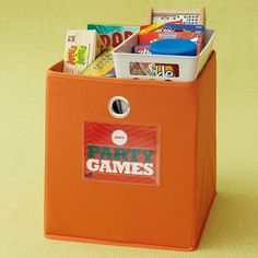 I love this organizing tip from BH Leave a box/basket handy in the living room that contains party games/board games/puzzles, clearly labeled.