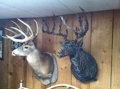 This life-size Barbed Wire Deermount is the perfect addition to any Office, Hunting Lodge, Man Cave, or Home. Deer Skull Art, Deer Skulls, Skull Decor, Deer Antlers, Deer Hunting Decor, Deer Head Decor, Taxidermy Decor, Taxidermy Display, Barbed Wire Art