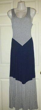 Gray Navy Blue Small Dark Chevron Tank Long Material Floor Maxi Maxi Dress By $34