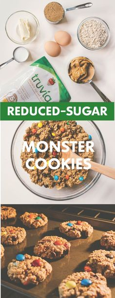 What's not to love about a cookie filled with peanut butter, oatmeal and chocolate chips? Our flourless Reduced-Sugar Monster Cookies are a crowd- pleaser with 53% less sugar than the sugar- sweetened version. Recipe can easily be adapted for gluten-free diet.