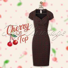 Perry Cha Cha Pencil Dress in Black Vintage Style, Retro Vintage, Vintage Fashion, Cherry Baby, Stunning Redhead, Pencil Dress, Cherries, Rockabilly, Fitness Fashion