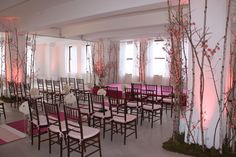 Reminds me of your ceremony hall space. Cool with the birch trees and accents of fuishia pink