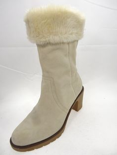 Sporto  Beige Suede Leather Winter Zipper Mid Calf Boots Women's Size 9          #Sporto #MidCalfBoots