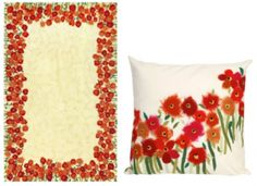 Poppies Red Pillow and Rug from Liora Manne on Pure Home