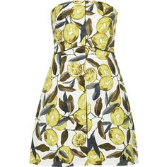 TOPSHOP Lemon and Lime Print Bandeau Dress