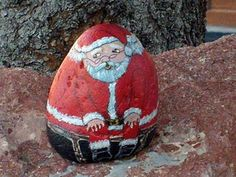 Painted Rock Santa Claus