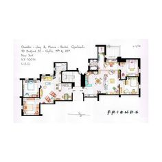 bury-my-castle: FRIENDS apartmentfloor plans! ... ❤ liked on Polyvore