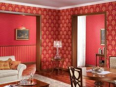 retro tapeten majestätisch rot orange