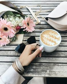 Emily Luciano | ☾ coffee, latte, plant, pretty photo