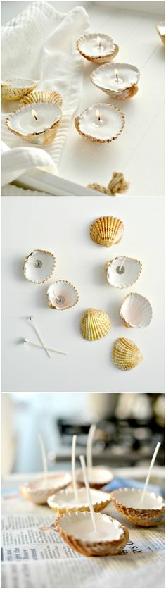 Quick Shell Candle Holders - 50 DIY Candle Holders and Votives You Can Do - Page 3 of 5 - DIY & Crafts