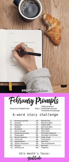 Year to a Better You February Prompts. Story Challenge for journaling, writing, self-improvement, gratitude, and goal setting. Journal Topics, Journal Prompts, Writing Prompts, Story Prompts, Journal Ideas, Journals, 6 Word Stories, Six Word Story, Crafty Hobbies