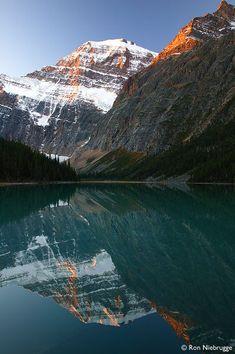 Mt. Edith Cavell reflects onto Cavell Lake, Jasper National Park, Jasper, Alberta, Canada  (by Ron Niebrugge)