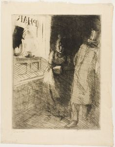 Albert Besnard French, 1849-1934.  Prostitution, plate ten from Woman, c. 1886,  Etching on cream Japanese paper, 390 x 310 mm (sheet) | The Art Institute of Chicago