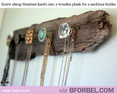 Rustic DIY necklace holder