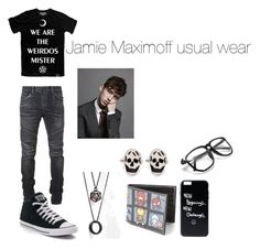"""Jamie Maximoff usual wear"" by carrollgabriel on Polyvore featuring Killstar, Balmain, Converse, ASOS, Marvel and Alexander McQueen"