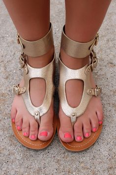 Gold Gladiator Sandals COSMOS | UOIOnline.com: Women's Clothing Boutique