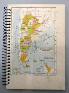 Cuaderno de Viajes. Mapa República Argentina. Papelera Palermo de Colección