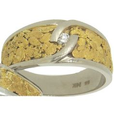 Men's Alaskan Gold Nugget and Diamond Wedding Band. Style#: GRW194WG - Gold Nugget Jewelry by Alaskan Gold Rush Fine Jewelry - Fairbanks, Alaska - 907-456-4991 - www.goldrushfinejewelry.com