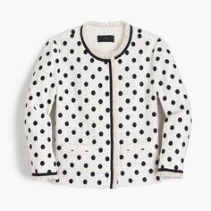 Navy polka dots on a feminine lady tweed jacket from J.Crew!