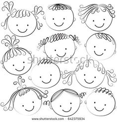 Set of kids heads in black color on a white background Happy Cartoon, Cartoon Faces, Cartoon Drawings, Easy Drawings For Kids, Drawing For Kids, Art For Kids, Les Doodle, Doodle Art, Doodle People
