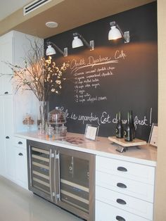 Love the idea for a cafe-like chalkboard wall in the kitchen. For wall behind homework station. next to coffee island Love the idea for a cafe-like chalkboard wall in the kitchen. For wall behind homework station. next to coffee island New Kitchen, Kitchen Decor, Island Kitchen, Kitchen Ideas, Basement Kitchen, Smart Kitchen, Summer Kitchen, Kitchen Small, Kitchen Layout
