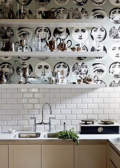 FionaRichardson-kitchenpantry, wallpaper above tile with white shelves