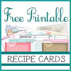 Sweetly Scrapped: {Free♥} Printable Recipe Cards Free Printable Recipe Cards!  They
