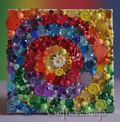 rainbow picture buttons, small mosaic tiles, beads, half beads, gems, sequins or any other small colorful items