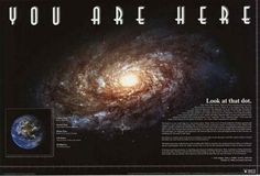 "An awesome Milky Way Galaxy poster! ""You Are Here"" on the tiny dot of Earth. Includes a quote by Carl Sagan. Need Poster Mounts. Galaxy Map, Galaxy Planets, Solar System Poster, Wall Art Prints, Poster Prints, Carl Sagan, Space And Astronomy, Earth From Space, Inspirational Posters"