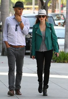 Devon Aoki's green biker jacket and hat stood out during her stroll in Beverly Hills.