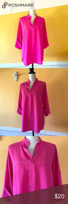 """Isaac Mizrahi Neon Pink Tunic Blouse Size 6 👚 Isaac Mizrahi New York. No flaws perfect used condition. Size 6. Neon hot pink. Measurements: top to bottom 30"""", underarm to underarm 24"""". 100% Polyester. Machine wash cold. Isaac Mizrahi Tops Tunics"""