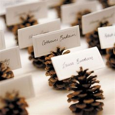 New wedding winter pine cones place cards 20 Ideas Christmas Wedding, Fall Wedding, Christmas Time, Rustic Wedding, Christmas Crafts, Xmas, Elegant Wedding, Trendy Wedding, Christmas Place Cards