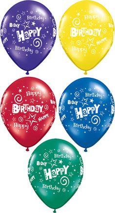 Balão Látex Birthday Stars Swirls 24 polegadas Acessorios para festas